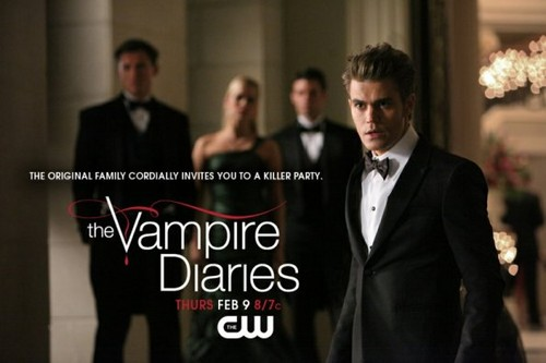 Vampire Diaries – Fernsehserie Hintergrund with a business suit and a dress suit titled The Vampire Diaries - Episode 3.14 - Dangerous Liaisons - Promotional Poster & BTS Fotos