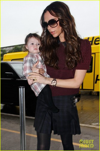 Victoria Beckham & Harper Match in Plaid Outfits