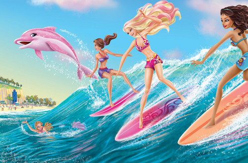 barbie in mermaid tale wallpaper with a fountain titled mt