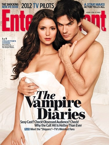 Ian Somerhalder and Nina Dobrev wallpaper containing a portrait and skin called nian cover hq