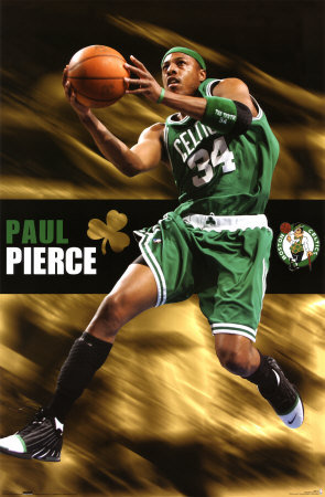 Boston Celtics Hintergrund with a basketball, a dribbler, and a basketball player entitled paul pierce
