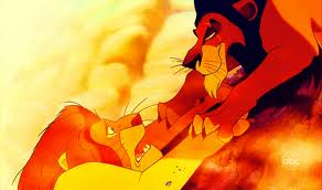 scar getting ready to let go of mufasa