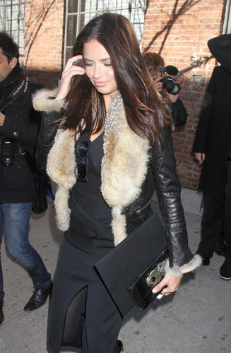 Adriana Lima attends the Donna Karan 显示 during Fashion Week in New York, Feb. 13, 2012