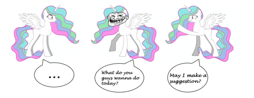 Celestia meets Trollestia and Molestia