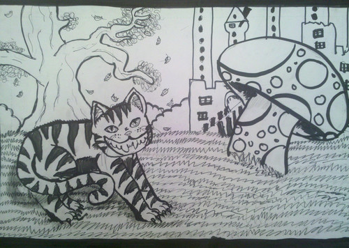 Cheshire cat in wonderland :3