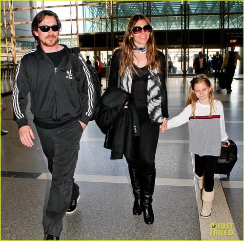 Christian Bale & Family Take Flight