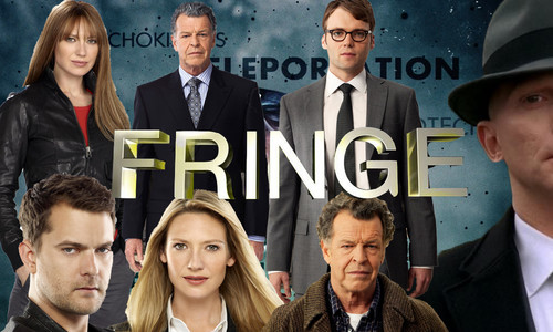 Fringe wallpaper with a business suit, a suit, and a dress suit titled Fringe  Poster