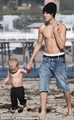 Justin bieber at family the beach in California