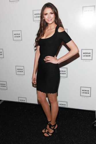 Nina Dobrev achtergrond possibly containing bare legs, hosiery, and a leotard called Mercedes Benz Fashion Week 2012