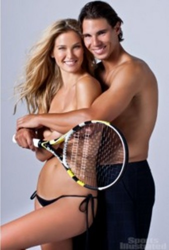 Rafael Nadal wallpaper containing a tennis racket, a tennis pro, and a tennis player called Rafa : naked Bar instead of Shakira !