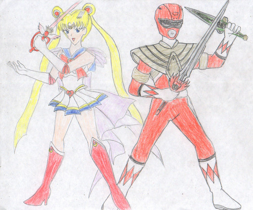 Red Ranger and Sailor Moon