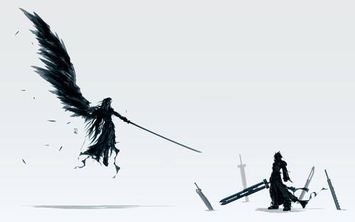 Final fantasi VII wallpaper entitled Sephiroth/Cloud