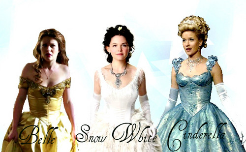 Once Upon A Time wallpaper containing a gown, a bridal gown, and a dinner dress entitled Snow White/Cinderella /Belle