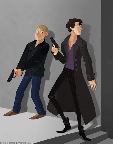 cartoonized Sherlock and John