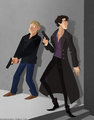 cartoonized Sherlock and John