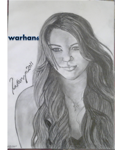 sshannahmontana wallpaper probably containing a portrait called miley cyrus drawing by Me_warhan6