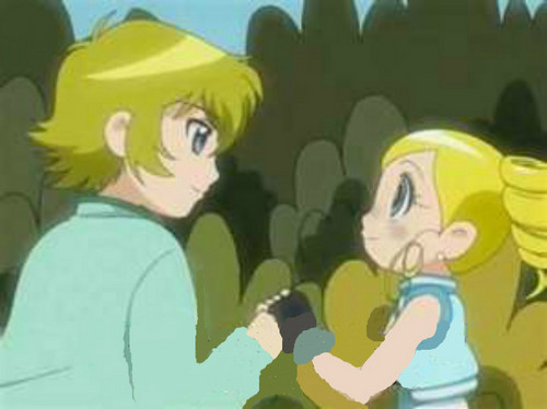 Bubbles and Cody holding hands
