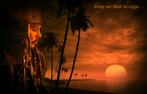 Pirates of the Caribbean wallpaper with a sunset and a resort called Captain Jack ~ Fanart