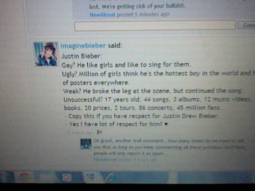 Fail troll commentaires about Justin Bieber on Pokemon Fan-Club!
