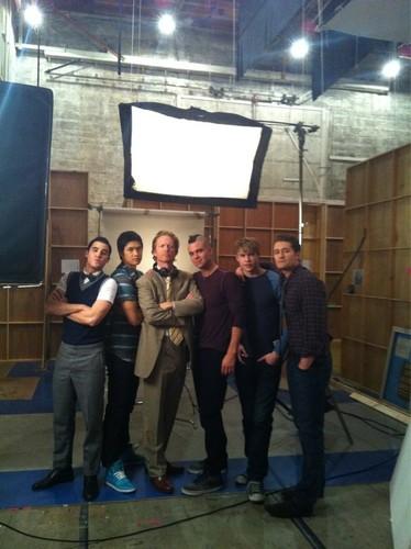 Glee guys on set