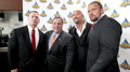 John Cena,The Rock,Triple H with N.J. Governor Chris Christie