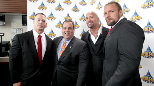 WWE wallpaper with a business suit, a suit, and a two piece titled John Cena,The Rock,Triple H with N.J. Governor Chris Christie