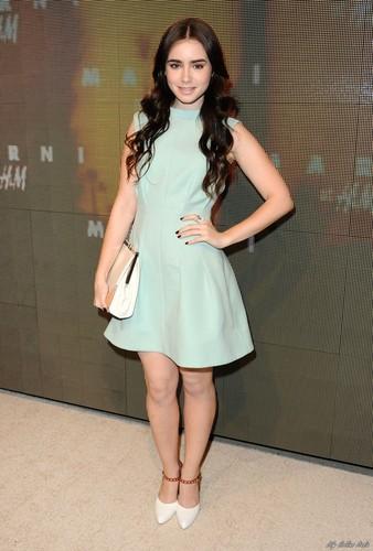 লিলি কলিন্স দেওয়ালপত্র probably with a ককটেল dress, a chemise, and a chemise titled Lily Attends Marni At H&M Collection Launch [HQ]