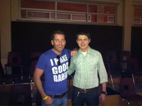 Paul: damianmcginty and myself in the choir room at mckinnley high.great day....now to party!!