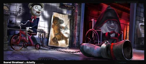 Shrek achtergrond entitled Scared Shrekless