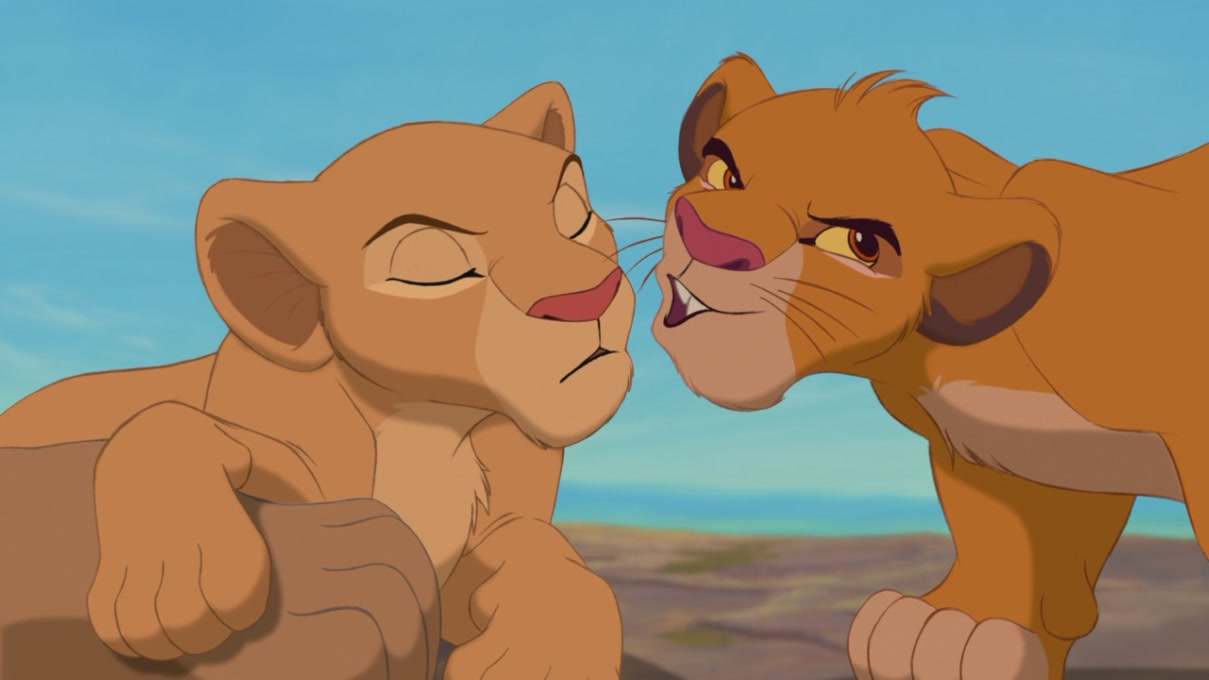 simba and nala cubs kiss the image kid has it. Black Bedroom Furniture Sets. Home Design Ideas