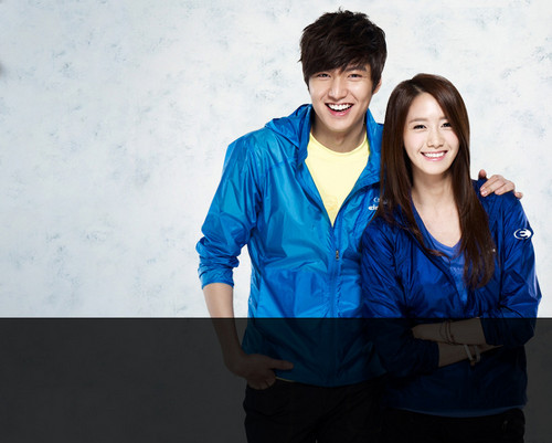 S♥NEISM kertas dinding probably with a well dressed person, a workwear, and an outerwear called Yoona and Lee Min Ho @ Eider Promotion