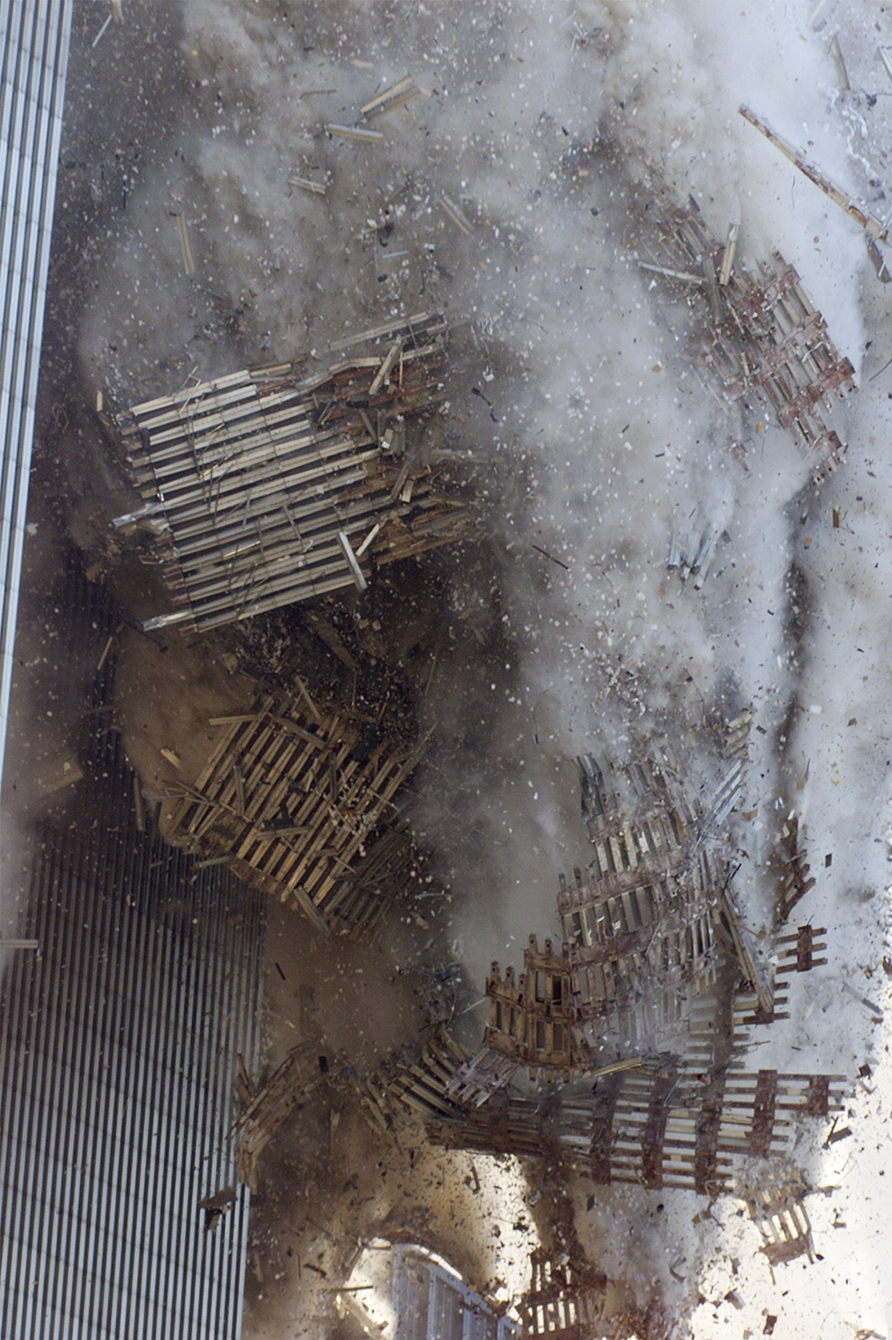 close up of the wtc collapsing