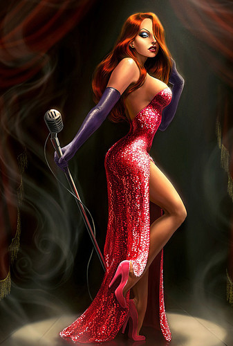 Jessica Rabbit kertas dinding possibly containing a makan malam, majlis makan malam dress and a koktel dress entitled jessica rabbit