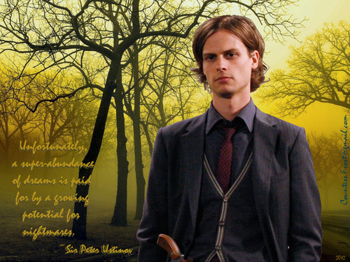 Dr. Spencer Reid Hintergrund with a spurge, a business suit, and a winter jasmin called potential for nightmares