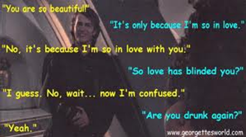Anakin and Padme wallpaper possibly containing anime entitled r u drunk again