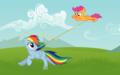 scootaloo and rainbow dash - rainbow-dash wallpaper