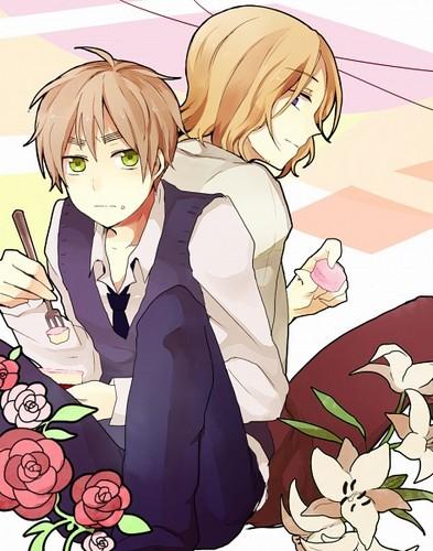 Hetalia: ~FrUk~ karatasi la kupamba ukuta with anime called France & England