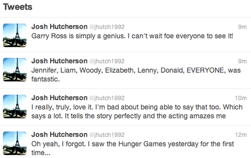 Josh tweets about The Hunger Games