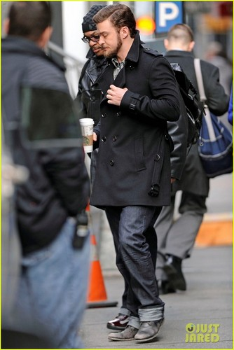 "Justin Timberlake heading to the set of ""Inside Llewyn Davis"""