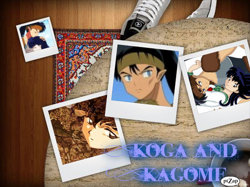 koga and kagome দেওয়ালপত্র containing জীবন্ত called Koga and kagome meeting
