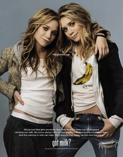 Mary-Kate & Ashley Olsen wallpaper containing a leisure wear, a well dressed person, and a hip boot titled Mary-Kate & Ashley-Got Milk?