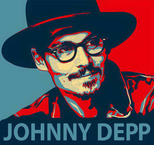 Johnny Depp wallpaper possibly containing a snap brim hat, a campaign hat, and a fedora entitled Pop art Johnny Depp