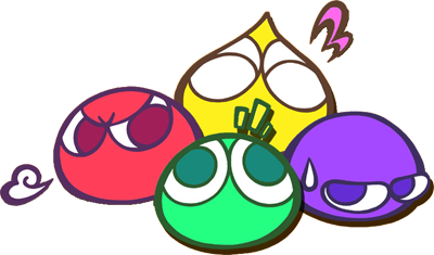 The 4 out of 5 types of puyos.