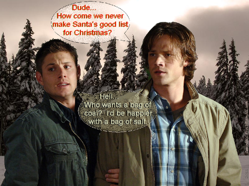 Supernatural wallpaper possibly with a sign and a street entitled bad boys on Santa's list