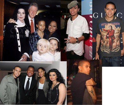 diana ross's son evan ross with michael jackson, jermaine jackson, prince jackson and paris jackson