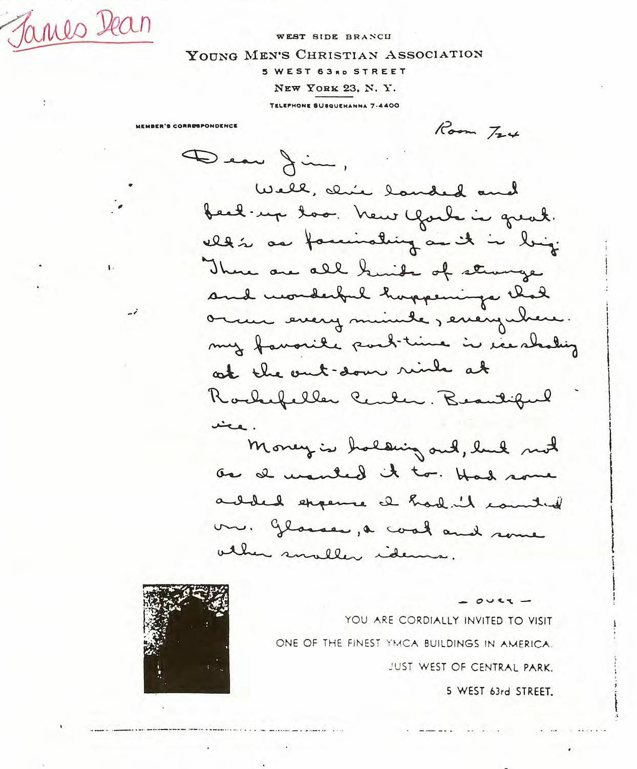 A letter from James Dean to 56 years after his death from the book by Sheila Lowe. (1)