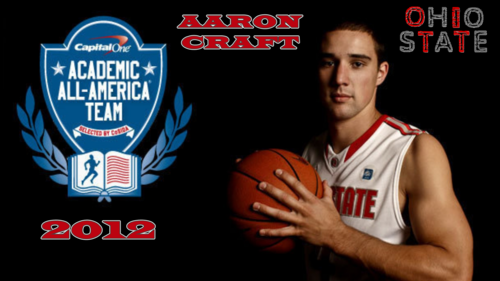 Ohio State universidad baloncesto fondo de pantalla with a basketball, a dribbler, and a baloncesto player called AARON CRAFT 2012 ACADEMIC ALL-AMERICAN
