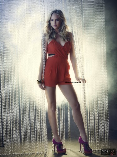 Candice Accola wallpaper probably containing bare legs, hosiery, and a playsuit called Candice's TVD Season 3 promotional photos. [HQ]
