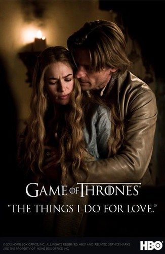 House Lannister wallpaper containing a portrait entitled Cersei Baratheon and Jaime Lannister poster