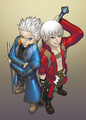 Chibi Vergil and Dante